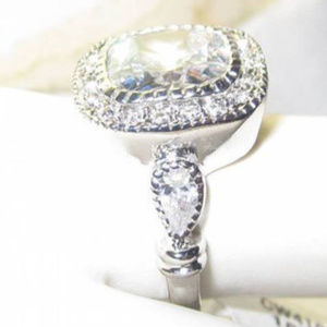 Cubiz Zirconia Jewelry - NWT ring white CZ classic large cushion cut